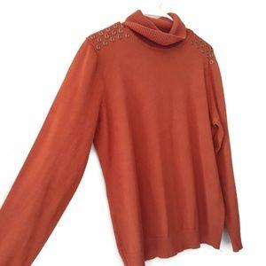 Joseph A. Burnt Orange Sweater with Brass Details